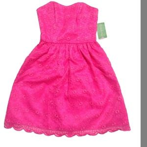 Bright pink strapless dress!  Stitched flowers